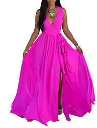 cheap -women's loose chiffon dress - solid colored maxi deep v