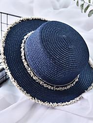 Недорогие -Жен. Классический Праздник Соломенная шляпа Солома,Контрастных цветов Лето Бежевый Темно синий Хаки