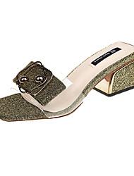 baratos -Mulheres Sandálias de calcanhar Couro Ecológico Verão Chanel / Shoe transparente Sandálias Caminhada Salto de bloco Ponta quadrada Presilha Dourado / Prata / Estampa Colorida