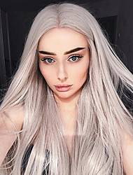 cheap -Synthetic Lace Front Wig Straight Middle Part 150% Density Synthetic Hair Heat Resistant / Women / Fashion Gray Wig Women's Long Lace Front / Yes
