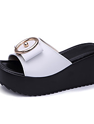 cheap -Women's Shoes Cowhide Spring & Summer Comfort Slippers & Flip-Flops Creepers White / Black