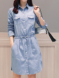 cheap -Women's Cotton Slim Denim Dress Shirt Collar