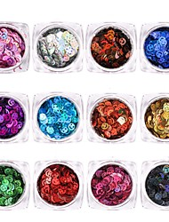 baratos -12pcs Formas de arte do prego Jóias de Unhas Design Moderno / Adorável / 12 cores arte de unha Manicure e pedicure Glitters / Paetês Diário / Casual / Jóias de unha