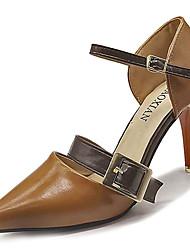 abordables -Femme Chaussures Polyuréthane Eté Escarpin Basique Chaussures à Talons Talon Aiguille Bout pointu Noir / Beige / Marron / Soirée & Evénement