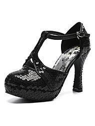 baratos -Mulheres Sapatos Pele Primavera Verão Tira em T / Chanel Saltos Salto Robusto Ponta Redonda Lantejoulas / Presilha Preto / Casamento / Festas & Noite