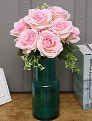 Недорогие -Искусственные Цветы 1 Филиал Классический / Односпальный комплект (Ш 150 x Д 200 см) Простой стиль / Modern Розы / Вечные цветы Букеты на стол