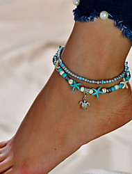 cheap -Turquoise Anklet - Turtle Double Layered Silver For Going out / Bikini / Women's