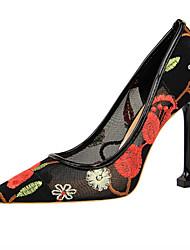 baratos -Mulheres Sapatos Com Transparência Primavera Verão Plataforma Básica Saltos Salto Agulha Dedo Apontado Vermelho / Azul / Amêndoa / Festas & Noite