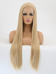 cheap -Synthetic Lace Front Wig Straight Golden Layered Haircut Synthetic Hair Heat Resistant / Women Golden Wig Women's Long Lace Front / Yes