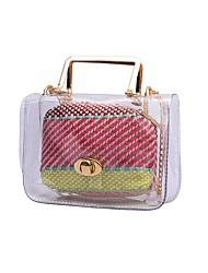 baratos -Mulheres Bolsas PVC Conjuntos de saco 2 Pcs Purse Set Botões Preto / Bege / Arco-íris
