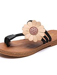 Недорогие -Жен. Обувь Полиуретан Лето Удобная обувь Сандалии На плоской подошве Открытый мыс Цветы из сатина Черный / Коричневый