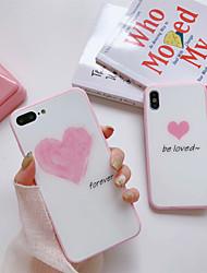Недорогие -Кейс для Назначение Apple iPhone X / iPhone 7 Защита от пыли Кейс на заднюю панель Слова / выражения / С сердцем Твердый Силикон для iPhone X / iPhone 8 Pluss / iPhone 8
