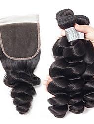 baratos -3 pacotes com fechamento Cabelo Indiano Ondulado Cabelo Humano Cabelo Humano Ondulado / Extensões de Cabelo Natural / Trama do cabelo com Encerramento 8-22 polegada Tramas de cabelo humano 4x4