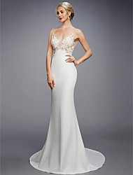 cheap -Mermaid / Trumpet Plunging Neck Court Train Lace / Knit Made-To-Measure Wedding Dresses with Appliques by LAN TING BRIDE® / See-Through / Beautiful Back
