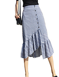 cheap -Women's Basic A Line Skirts - Houndstooth Black & White