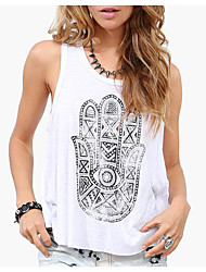 cheap -Women's Basic Cotton Tank Top - Geometric Print / Summer / Backless