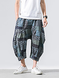 cheap -men's linen loose harem pants - geometric