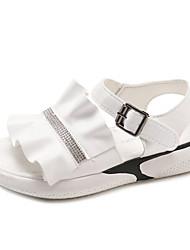 お買い得  -女性用 靴 PUレザー 夏 スリングバック サンダル フラットヒール ホワイト / ブラック