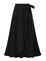 abordables -Mujer Básico Algodón Asimétrico Línea A Faldas - Lazo, Un Color Alta cintura / Primavera