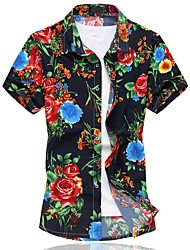cheap -Men's Plus Size Cotton Shirt - Floral / Please choose one size larger according to your normal size. / Short Sleeve