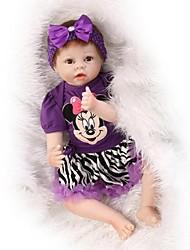 Недорогие -NPKCOLLECTION Куклы реборн Девочки 24 дюймовый Силикон - как живой Искусственная имплантация Коричневые глаза Детские Девочки Игрушки Подарок