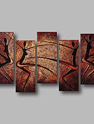 billige -Hang-Painted Oliemaleri Hånd malede - Abstrakt / Landskab Moderne Lærred
