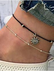 abordables -Femme Effets superposés Bracelet de cheville - Soleil dames, Rétro Bijoux Argent Pour Quotidien