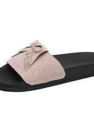 cheap -Women's Shoes Suede Spring & Summer Comfort Slippers & Flip-Flops Flat Heel Tassel Gray / Brown / Almond