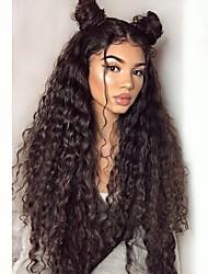 Недорогие -Синтетические кружевные передние парики Кудрявый Стрижка каскад Искусственные волосы С детскими волосами / Жаропрочная / Природные волосы Черный Парик Жен. Очень длинный Лента спереди / Да