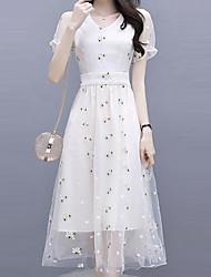 economico -Per donna Moda città / sofisticato Tubino / Swing Vestito Fantasia floreale / A quadri Medio
