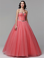 cheap -Ball Gown Sweetheart Neckline Floor Length Satin / Tulle Sparkle & Shine Formal Evening Dress with Crystals by TS Couture®