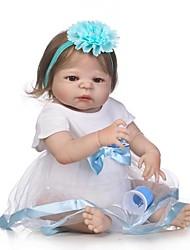 preiswerte -NPKCOLLECTION Lebensechte Puppe Baby Mädchen 24 Zoll Ganzkörper Silikon / Vinyl - lebensecht, Künstliche Implantation Braune Augen Kinder Mädchen Geschenk
