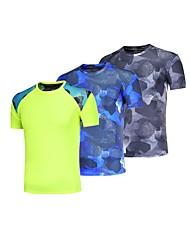 baratos -BARBOK Homens Camiseta Segunda Pele - Verde, Azul, Cinzento Esportes Sólido, Clássico Camiseta / Pulôver / Blusas Ioga, Exercício e Atividade Física, Multi-Esporte Manga Curta Roupas Esportivas Leve