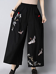 cheap -Women's Chinoiserie Wide Leg Pants - Animal Embroidered