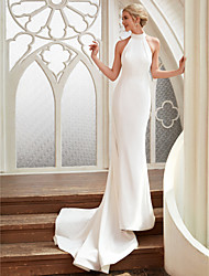 cheap -Sheath / Column Halter Neck Court Train Chiffon / Satin Made-To-Measure Wedding Dresses with by LAN TING BRIDE® / Open Back / Royal Style