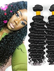 cheap -Malaysian Hair / Deep Wave Curly Natural Color Hair Weaves / Human Hair Extensions 3 Bundles 8-28 inch Human Hair Weaves Machine Made Best Quality / Hot Sale / Comfortable Natural Black Human Hair