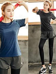 baratos -Mulheres Roupas de Yoga - Vermelho, Azul, Violeta Esportes Elastano Camiseta / Calças Exercício e Atividade Física Manga Curta Tamanhos Grandes Roupas Esportivas Respirabilidade Elasticidade Alta
