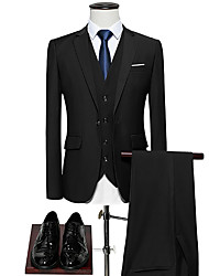 cheap -Men's Plus Size Suits-Solid Colored Peaked Lapel / Long Sleeve