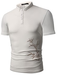 cheap -Men's Cotton Polo - Floral Shirt Collar / Please choose one size larger according to your normal size. / Short Sleeve