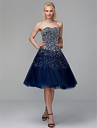 cheap -Princess Strapless Knee Length Tulle Sparkle & Shine Cocktail Party / Prom Dress with Beading / Sequin / Pearls by TS Couture®