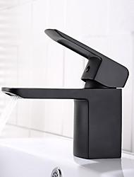 Недорогие -Ванная раковина кран - Широко распространенный / Новый дизайн черный Настольная установка Одной ручкой одно отверстиеBath Taps