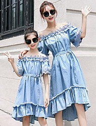 cheap -Adults Mommy and Me Solid Colored Short Sleeve Dress