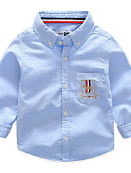 Недорогие -Дети Мальчики Классический Повседневные С принтом Вышивка Длинный рукав Обычный Хлопок Рубашка Синий 100