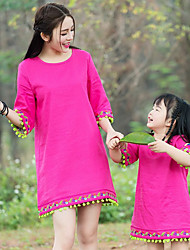 cheap -Mommy and Me Solid Colored Long Sleeve Dress