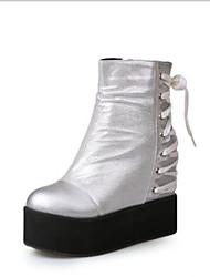 abordables -Femme Chaussures Polyuréthane Automne hiver Bottes à la Mode / boîtes de Combat Bottes Creepers Bout rond Bottine / Demi Botte Noir / Argent / Soirée & Evénement