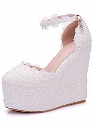 abordables -Femme Chaussures Polyuréthane Automne hiver D'Orsay & Deux Pièces Chaussures de mariage Hauteur de semelle compensée Bout rond Perle /
