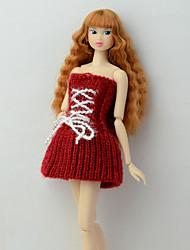 Недорогие -Платье куклы Платья Для Barbie Полосы / волосы Разные цвета Темно-красный Плетеные изделия Полиэстер Акриловые волокна Платье Для Девичий игрушки куклы