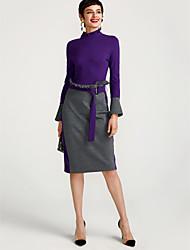 Недорогие -Жен. Шёлк А-силуэт Платье - Контрастных цветов Завышенная Вырез под горло Средней длины
