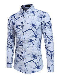 cheap -Men's Cotton Shirt - Floral / Please choose one size larger according to your normal size. / Long Sleeve