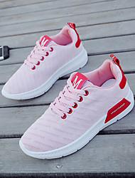 baratos -Mulheres Sapatos Lona Primavera Conforto Tênis Sem Salto Branco / Preto / Rosa claro